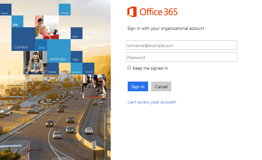 office365 sign in page