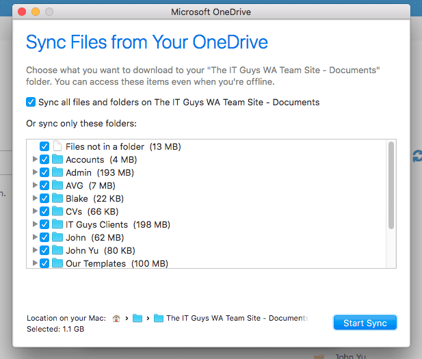 Select Onedrive Folders to Sync in Mac OS