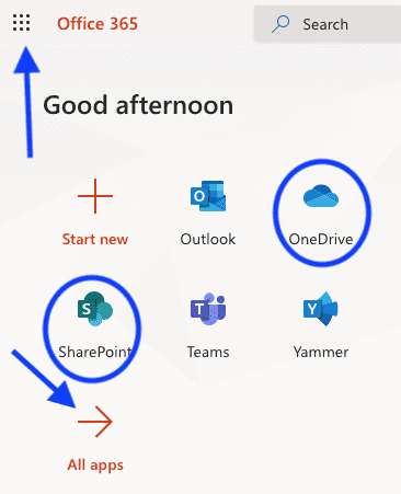 accessing onedrive or sharepoint files